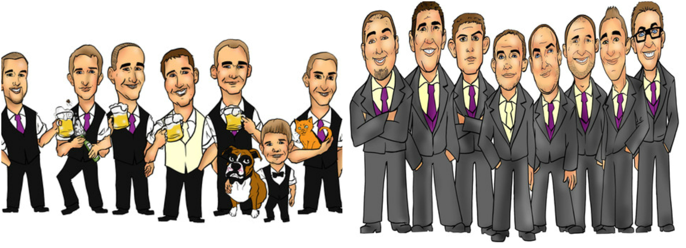 Caricatures also available at Groovy Groomsmen Gifts