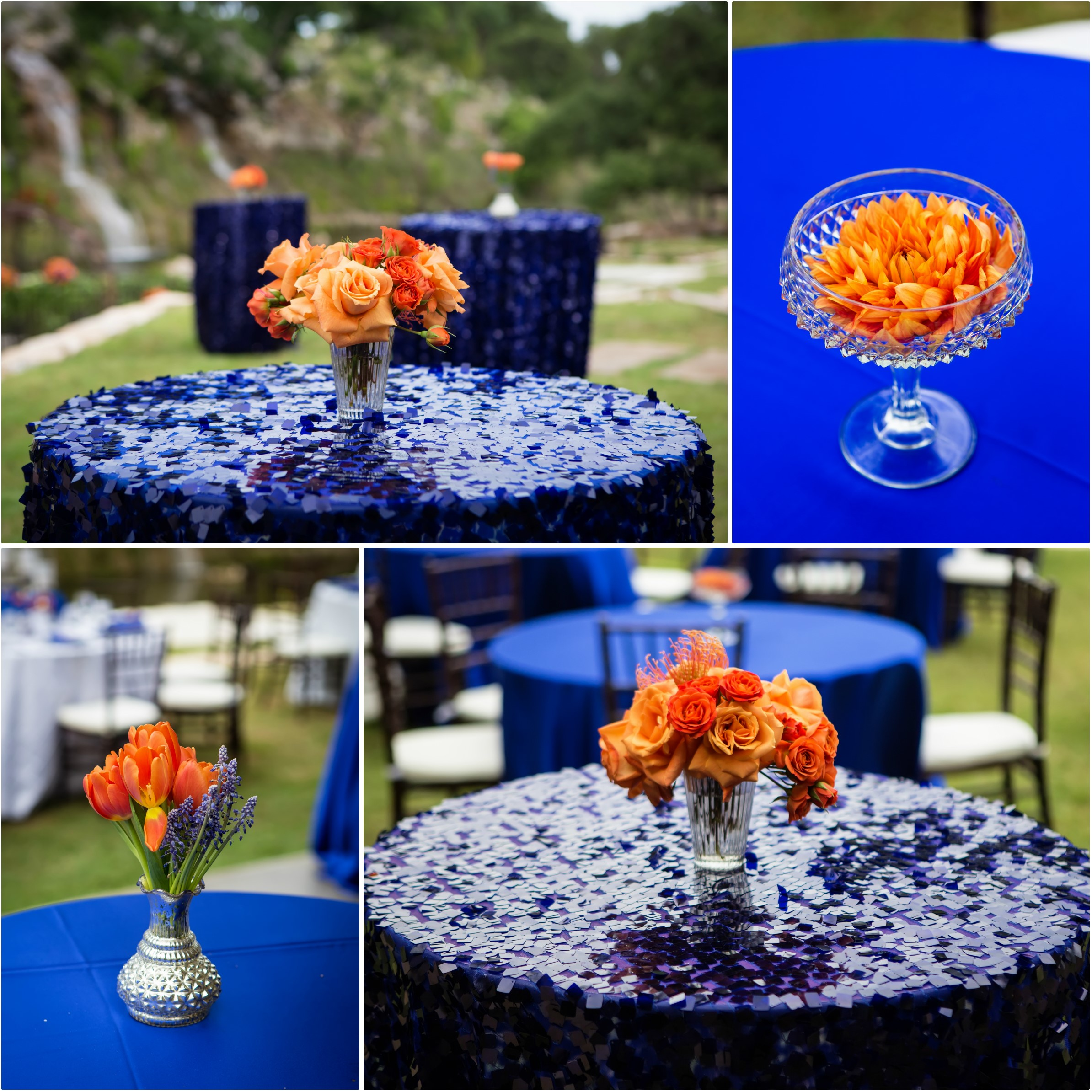 Sequined High Tables With Small Varied Orange Centerpieces Decorated The Patio